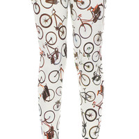 Leggings Cotton Spandex - Bicycles Screen Print Leggings Stretch Pants Full Length - Code LEG17 Size M