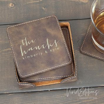 Square Personalized Leather Coaster Set of 6 - Rustic CB01