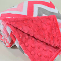Minky Baby Blanket - Watermelon / Charcoal Chevron Minky - Watermelon Minky Dimple Dot - Double Minky - Baby Size 29x35