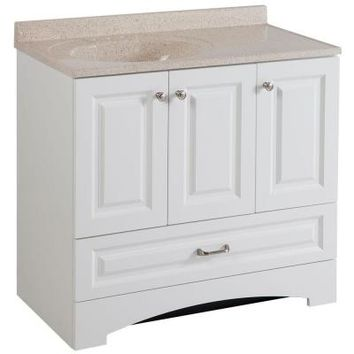 Glacier Bay Lancaster 36 in. Vanity in White with Colorpoint Vanity Top in Maui-LC36P2MCOM-WH - The Home Depot