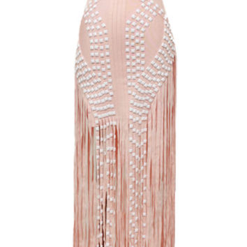 Briella Pink Beaded Bandage Fringe Dress