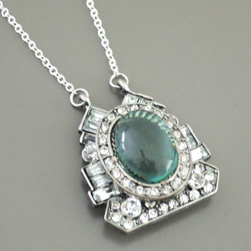 Art Deco Necklace -  Silver Necklace - Aquamarine crystal Necklace - Boho Necklace - Crystal Necklace - OOAK - handmade jewelry