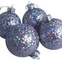 4 Christmas Ornaments - Transparent Balls With Iridescent Sequins