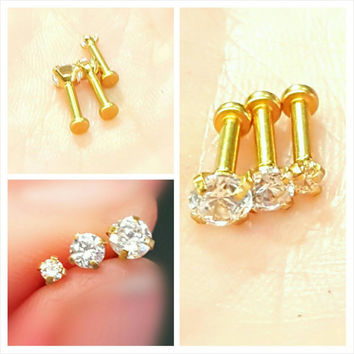 """Gold Clear Prong Tragus Cartilage Earring Ring Forward Helix Triple Stud 16g 1/4"""" Piercing Bar Barbell Surgical Steel Jewelry"""