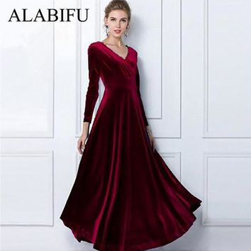 ALABIFU Winter Dress Women 2018 Casual Vintage Velvet Dress Long Sleeve Plus Size 3XL Elegant Sexy Long Party Dress ukraine