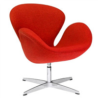 Arne Jacobsen Style Swan Chair in Orange Fabric
