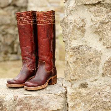 6fb05712f9237 Vintage Frye Campus Cowboy Boots, Oxblood Burgundy Leather, Campus  Stitching Tall Boots, Black Label Tag 60s 70s, Women's size 5.5 5 1/2