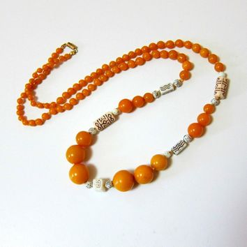 Butterscotch Bakelite and Pressed Glass Bead Necklace - 33 inches