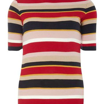 Red and Navy Ripple Stripe Tee