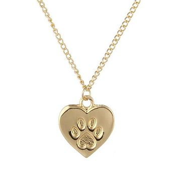 Fashion Jewelry Cat Lover Friendship Heart Charm Necklace