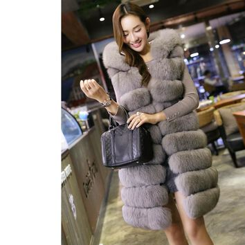2017 New Fashion Long Faux Fox Mink Fur Vest With Hooded Women Winter Slims Super Long Fake Fur Vests Fur Coat Female Jackets