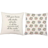 Dr. Seuss Quote Pillows - Stacks of Books Pillow Covers with or without Cushion Inserts - Book Print Pillow, Bookworm Gifts, Dr. Seuss Print
