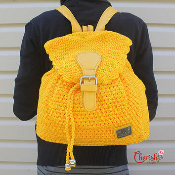 Alesha crochet backpack/backpack/Casual/woman bag/ shoulder bag/ crochet bag/Medium/yellow/crochet bag/modern crochet/gifts for her/bag