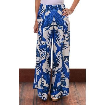 Blue Floral Woven Palazzo Pants