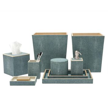 Manchester Faux Shagreen Bathroom Accessories  (Turquoise)