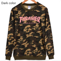Thrasher Flame jacket with long sleeves loose set of Pullovers sweater Pink