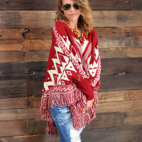Alpine Chalet Wine Fringed Sweater Poncho - One