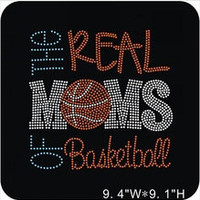 Basketball mom iron on hot fix rhinestone transfers - DIY heat transfers school team sports for shirts tees