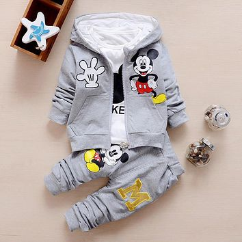Hot Sale 2018 Autumn Baby Girls Boys Clothes Sets Cute Infant Cotton Suits Coat+T Shirt+Pants