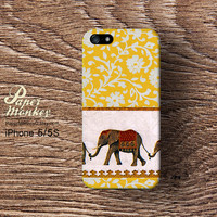 Antique thai elephant print yellow floral, vintage style, iPhone 5 case, iPhone 4S case, Decoupage case for iPhone.