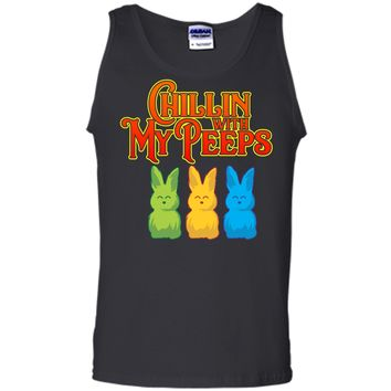 Chilling With My Peeps T-shirt Cool Easter Bunny Rabbit Tee Tank Top