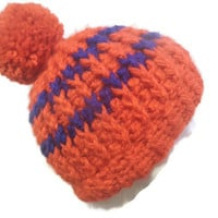 Red and blue winter pom pom beanie, crochet beanie, crochet hat