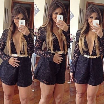 Women Long Sleeve Black Lace Jumpsuit Romper NYE Clubbing New Year Ladies Vestidos ***USA SELLERS*** = 1945670084