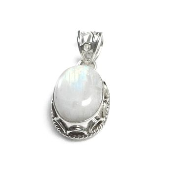 Sterling Silver Large Oval Natural Rainbow Moonstone Pendant