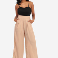 Sexy Jumpsuits-Cute Contrast Jumpsuit-Black and beige jumpsuits