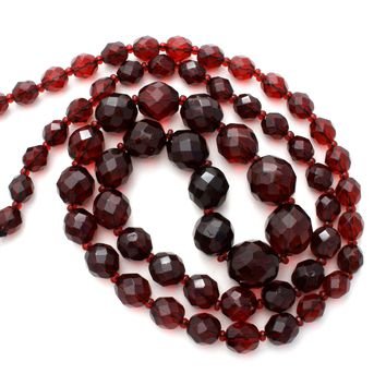 "Graduated Garnet Red Glass Bead Necklace 30"" Vintage"