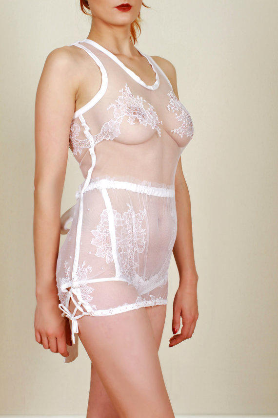 252acba1c16 Sheer lace cami top white camisole tank from OptimImperaLingerie