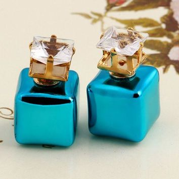 ONETOW Stylish square colorful candy color earrings double-sided size pearl earrings