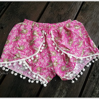 XS Pink Pom Pom Shorts Boho Hobo Beach Hippie Elephant Hipster Rayon Dot Trimming Clothing Aztec Ethnic Ikat Sleepwear Underwear Trim