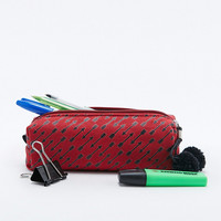 Burgundy Arrow Print Pencil Case - Urban Outfitters