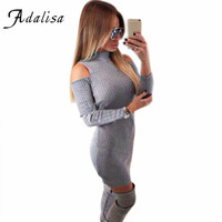 Sexy Party Club Dresses Off the Shoulder Knitted Sweater Vestidos Robe Femme Women Warm Winter  Long Sleeve Gray Mini Dress