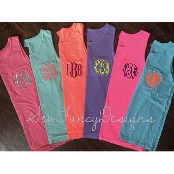 Comfort Colors Monogrammed Pocket Tank - Tank Top
