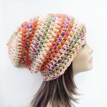 FREE SHIPPING - Crochet, Supa Slouch, Beanie, Hat - Unisex, Mens, Womens - Multi, Orange, Yellow, Peach, Purple, Green, White
