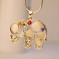 Cat Eye Gemed Elephant Fashion Necklace | LilyFair Jewelry