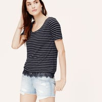 Striped Lace Hem Tee | LOFT