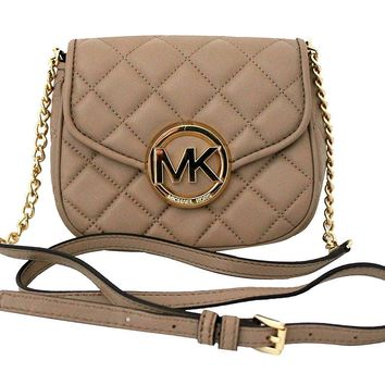 MICHAEL Michael Kors Women's FULTON QUILT SMALL FLAP LEATHER CROSSBODY PURSE