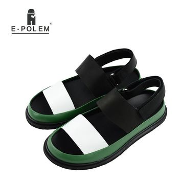 2017 Summer Joker Fashion Men Tide Breathable Casual Genuine Leather Rome Sandals Fashion Casual Height Increasing Sandals