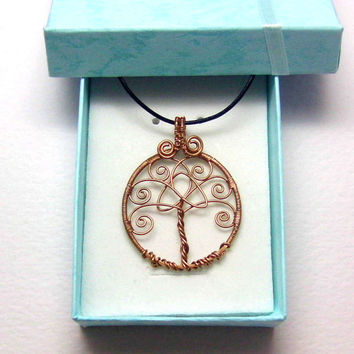 Bronze Celtic Tree of Life Pendant Necklace With Celtic Trinity Knot, Wire Wrapped Jewelry