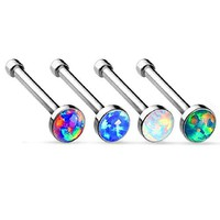 BodyJ4You Nose Ring Stud Bone Kit Created-Opal Set Stainless Steel 4 Pieces
