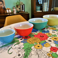 Hard to Find Unnumbered Pyrex Primary Nesting Bowls, Pyrex Primary Mixing Bowls, Yellow Green Red  Blue Pyrex 400 Series, 1940's Pyrex