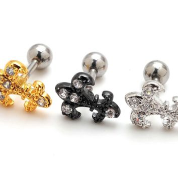 Fashion personality fleur-de-lis zircon earrings Stainless steel antiallergic tragus Earring-0427-Gifts box