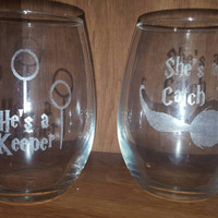 Laser Engraved Harry Potter He's a Keeper, She's a Catch Set of Stemless Wine Glasses ~ Gifts for Her ~ Gifts for Him ~ Wedding