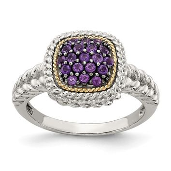 Sterling Silver Two Tone Silver And Gold Plated Sterling Silver w/and Black Rhodium Amethyst Ring