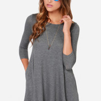 LULUS Exclusive Right Now Grey Swing Dress