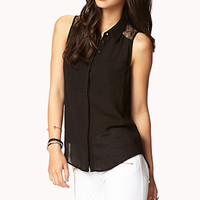 Crepe Woven Lace Shirt