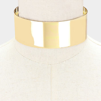 "14"" gold 2"" wide choker collar necklace"